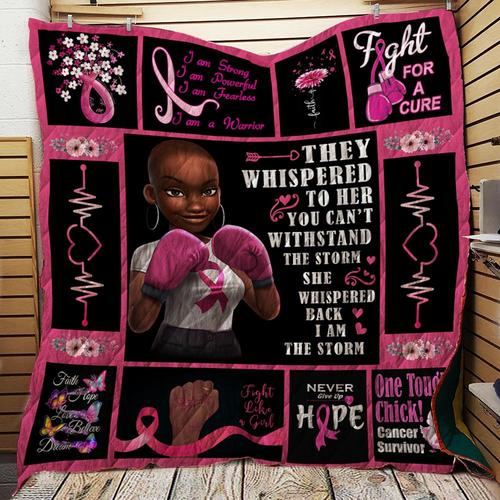 Breast cancer awareness kids black girl fight for a cure quilt