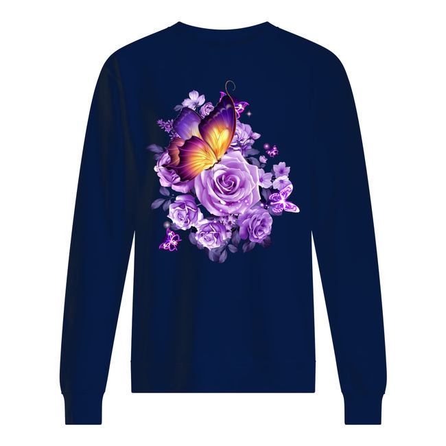 Butterfly purple flowers shirt