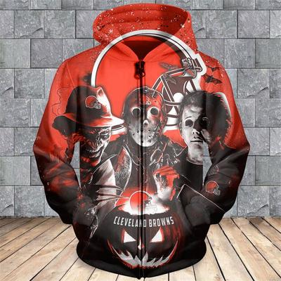 Cleveland browns horror movie characters 3d zipper hoodie