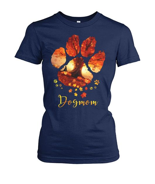 Dog paws mom autumn leaves halloween shirt