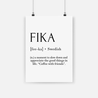 Fika swedish quote poster