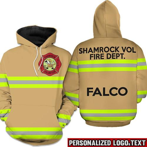 Firefighter shamrock vol fire dept falco 3d hoodie