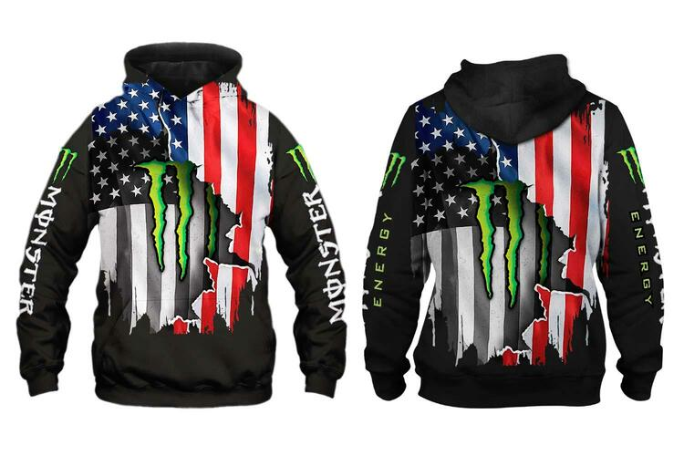 Flag american monster energy 3d hoodie