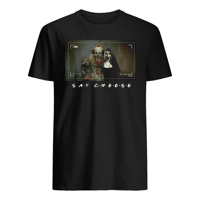 Halloween pennywise and valak say cheese shirt