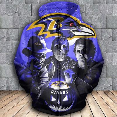 Horror movie characters baltimore ravens 3d zipper hoodie