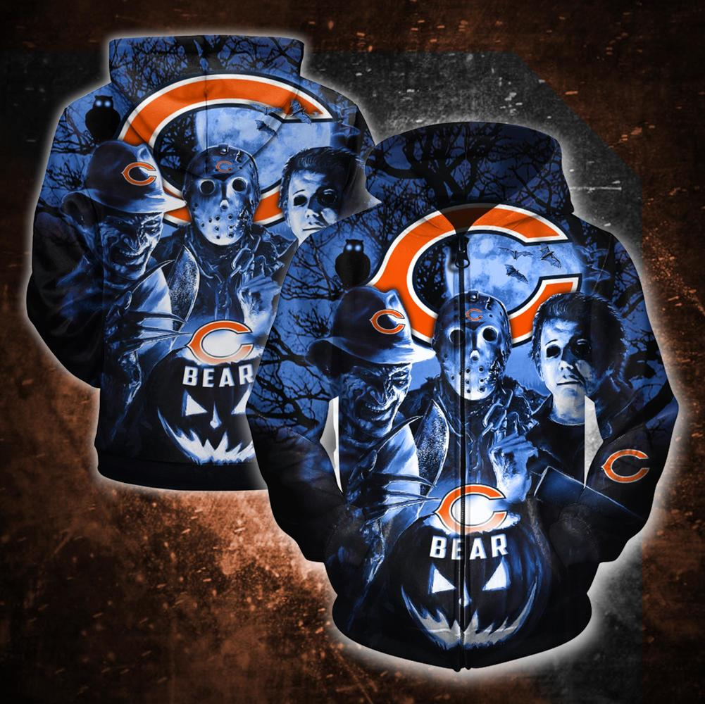 Horror movie characters chicago bears 3d zipper hoodie