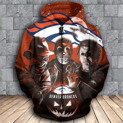 Horror movie characters denver broncos 3d zipper hoodie