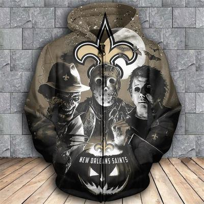 Horror movie characters new orleans saints 3d zipper hoodie