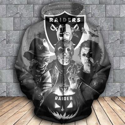 Horror movie characters oakland raiders 3d zipper hoodie