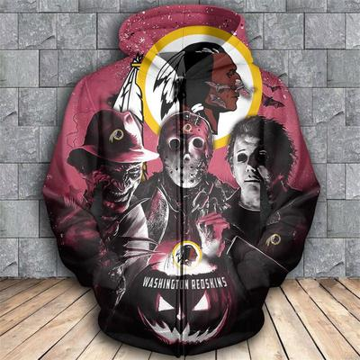 Horror movie characters washington redskins 3d zipper hoodie
