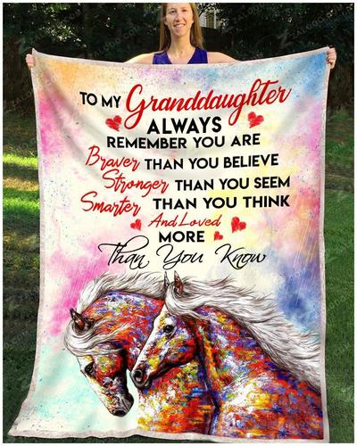 Horse to my granddaughter always remember you are braver blanket
