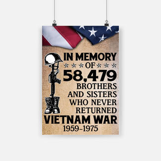 In memory of 58479 brothers and sisters who never returned vietnam war 1959-1975 poster