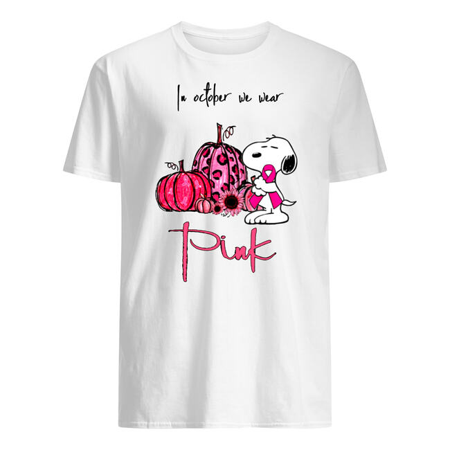 In october we wear pink snoopy pink pumpkin breast cancer awarenes shirt