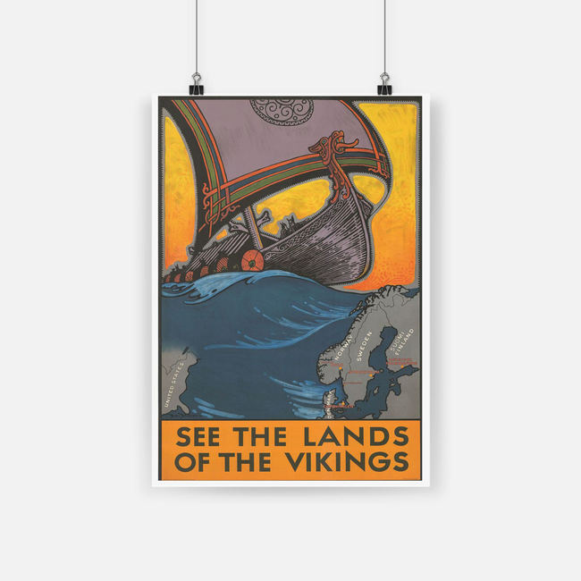 See the land of the vikings map of scandinavia poster