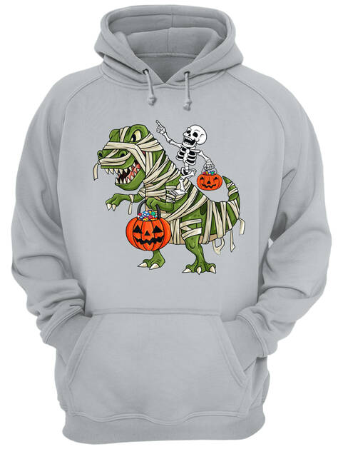 Skeleton riding t-rex halloween shirt