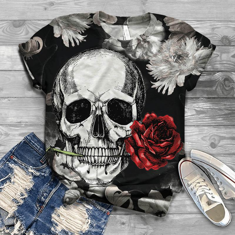 Skull and roses 3d t-shirt