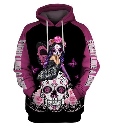 Skull pink warrior fight like a girl breast cancer awareness 3d hoodie