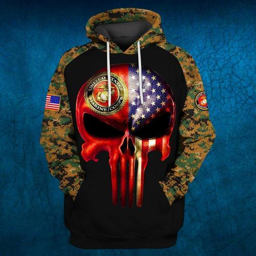 Skull united states marine corps uniform camo brave 3d hoodie