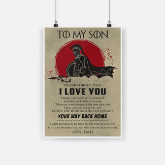 Spartan warrior to my son never forget that I love you poster