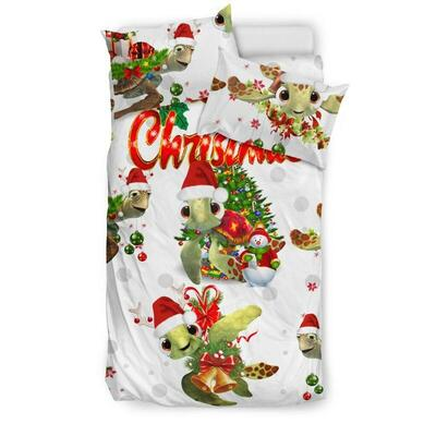 Turtle merry christmas bedding set