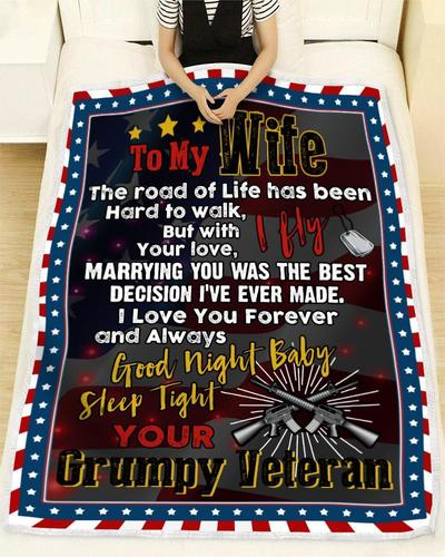 Veteran to my wife the road of life has been hard to walk blanket