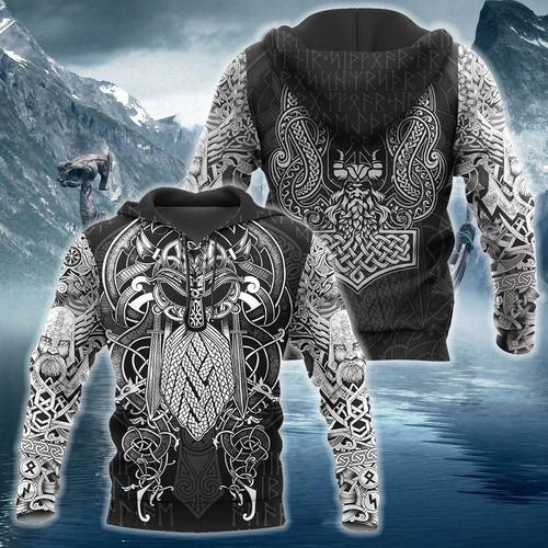 Viking odin 3d hoodie and 3d t-shirt
