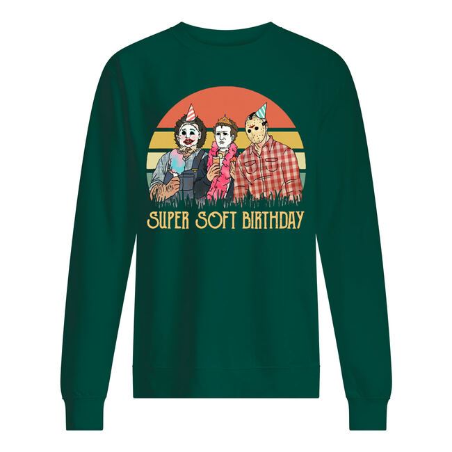 Vintage horror movie characters super soft birthday shirt