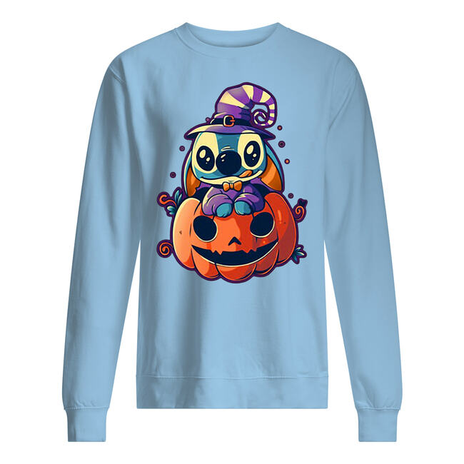 Witch stitch sit on pumpkin halloween shirt