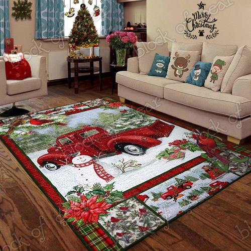 Christmas red truck snowy cardinals living room rug