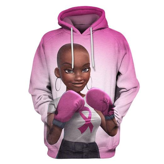 Multi-color melanin warrior fight like a girl cancer awareness 3d hoodie