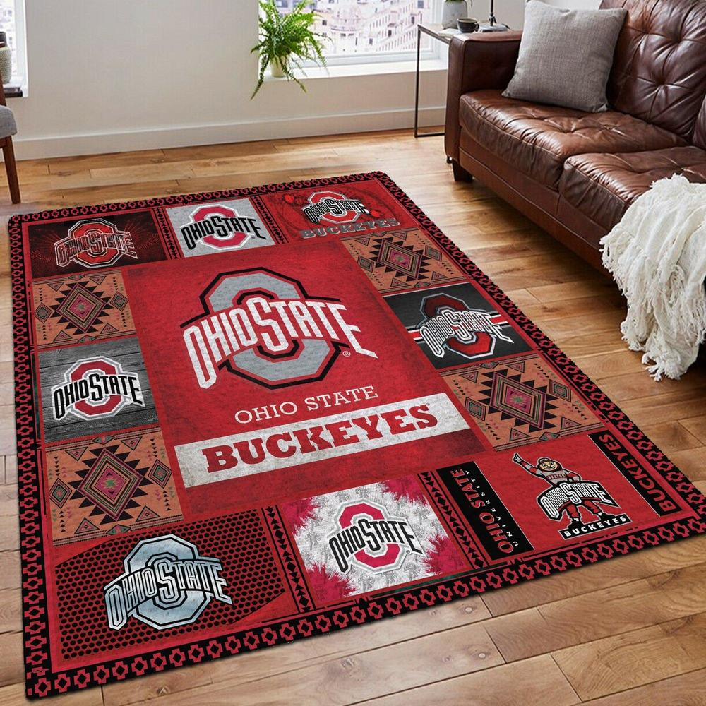 Ohio state buckeyes living room rug