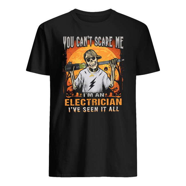 Skull you can't scare me I'm a electrician I've seen it all halloween shirt