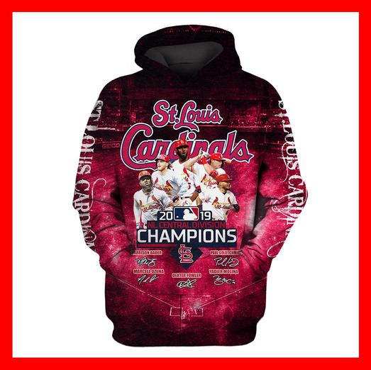 St louis cardinals 2019 nl central division champions 3d hoodie