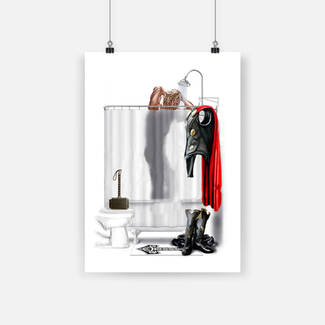 Superhero bathroom thor showering poster