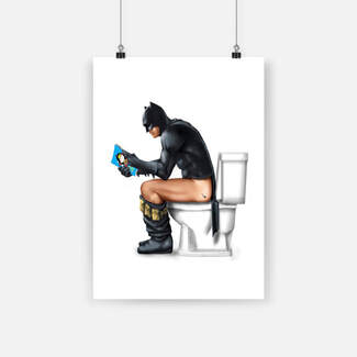 Superhero batman on the toilet poster