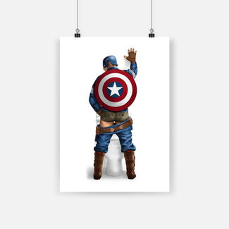 Superhero captain america on the toilet poster