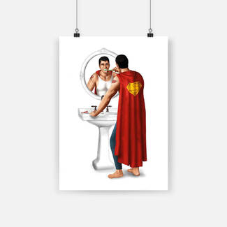Superheroes on toilet superman brushing poster