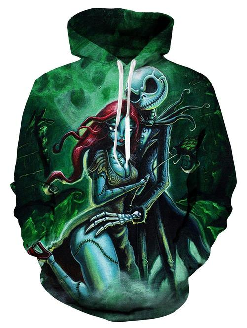 The nightmare before christmas jack skellington and sally halloween 3d hoodie