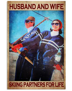 Husband-and-wife-skiing-partners-for-life-poster