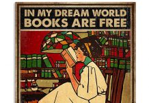 In-my-dream-world-books-are-free-and-reading-makes-you-thin-vintage-poster
