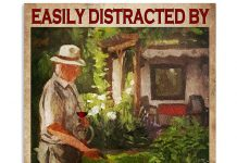 Old-Man-Easily-distracted-by-garden-and-wine-poster