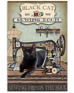 Sewing-Room-Black-Cat-Sewing-Mends-The-Soul-Poster