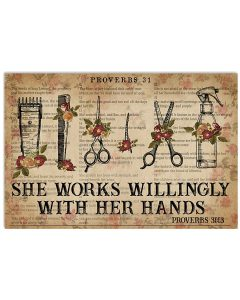 She-Works-Willingly-With-Her-Hands-Hairstylist-Poster