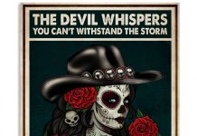 The-devil-whispered-you-cant-withstand-the-storm-The-cowgirl-replies-I-am-the-storm-Skull-poster