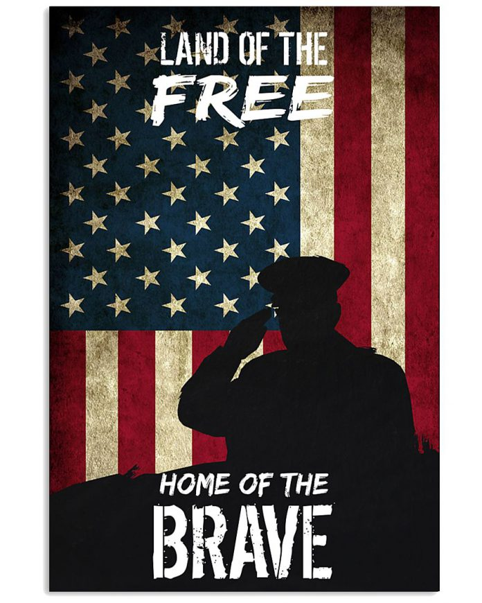 US-Flag-Veteran-Land-of-the-free-Home-of-the-brave-poster