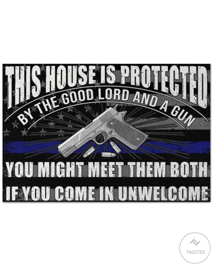 Police-This-House-Is-Protected-By-The-Good-Lord-And-A-Gun-Doormat