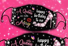 A-Queen-Was-Born-In-May-Happy-Birthday-To-Me-Face-Mask