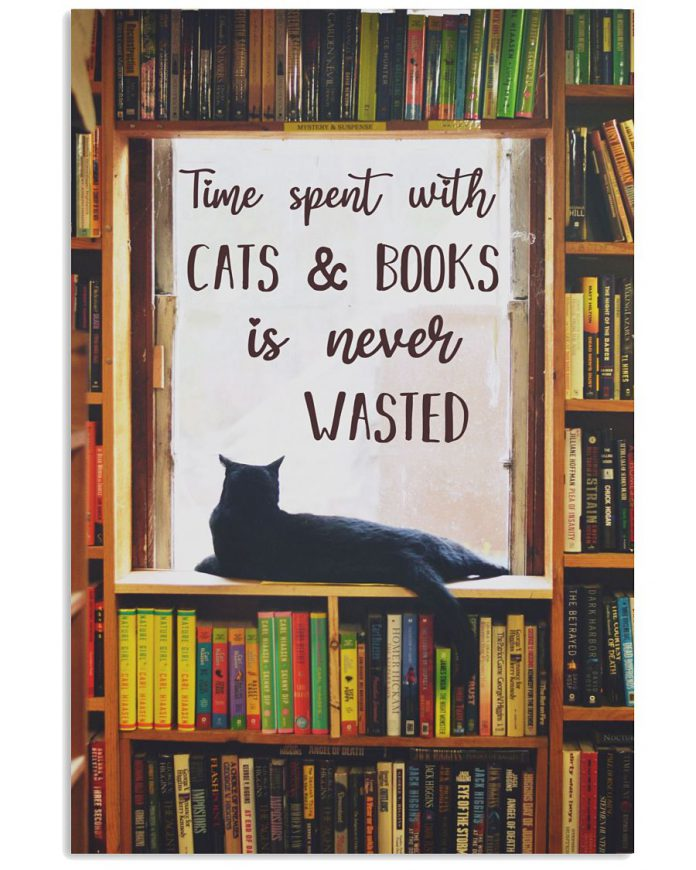 Cat-Library-Time-Spent-With-Cats-And-Book-Is-Never-Wasted-Poster