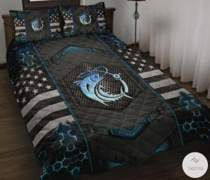 Fishing-Back-The-Blue-Police-Quilt-Bedding-Set