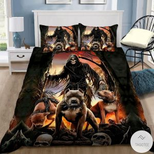God-Of-The-Death-With-Pitbull-Bedding-Set